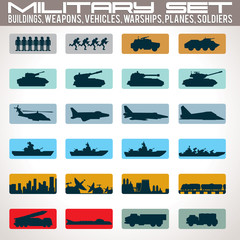 Military Icons Set.