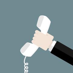Hand holding white phone. Flat design web icons