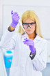 young beautiful blonde in the laboratory