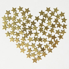Stars in the shape of heart background on Valentine's Day