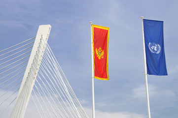 Flags of Montenegro and UN