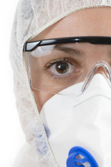 Scientist wearing protective suit