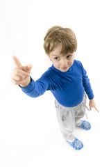 Little Boy Pointing Upwards