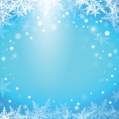 Christmas snowflakes on blue background.