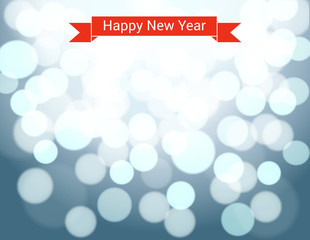 Happy New Year ribbon on silver bokeh background.
