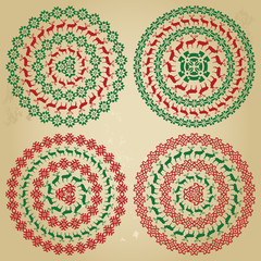 Winter nordic round pattern borders in collection