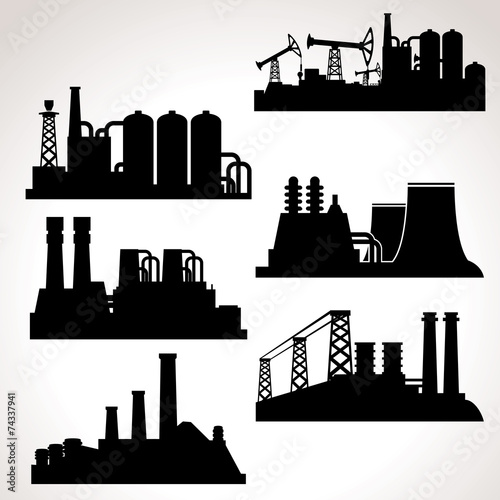 Vector Set of Industrial Buildings - 74337941