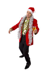 wasted drunk senior businessman in Champagne Christmas toast