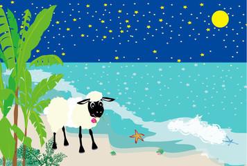 羊と南国のビーチと夜空