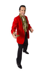 funny pimp playboy mature man in red casino jacket gigolo alike