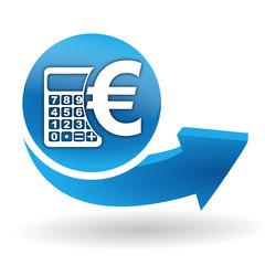 calculatrice euro devise sur bouton web bleu