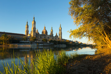 Cathedral of Our Lady of the Pillar in morning. Zaragoza