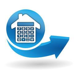 calculatrice immobilier sur bouton web bleu