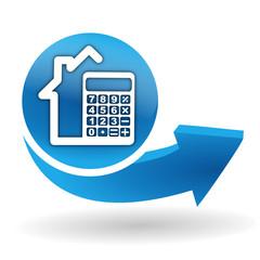 calculatrice maison sur bouton web bleu