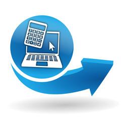 calculatrice ordinateur sur bouton web bleu