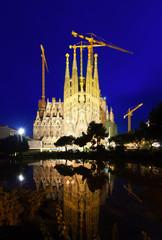 Sagrada Familia in evening in Barcelona