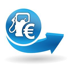 prix des carburants sur bouton web bleu