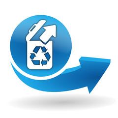 recyclage sur bouton web bleu