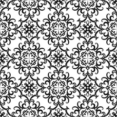 Black and white swirly ornament, seamless pattern