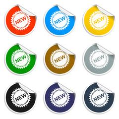Flat New label icon, vector illustration