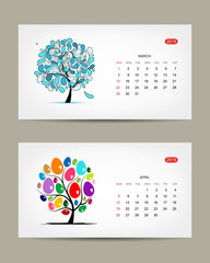 Vector calendar 2015, march and april months. Art tree design