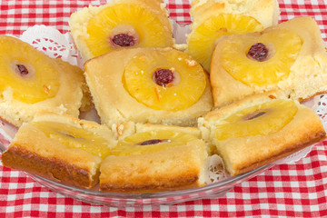 homemade sponge cake with pineapple