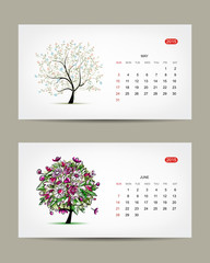 Vector calendar 2015, may and june months. Art tree design