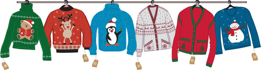 Collection of woven christmas sweaters