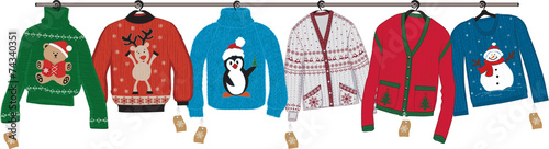 Collection of woven christmas sweaters - 74340351