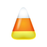 Realistic candy corn isolated on white background.