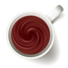 Cup of cacao or hot chocolate - above view.