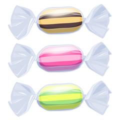 Set of candies in transparent wrapper.