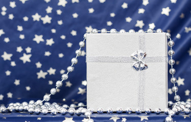 Silver Christmas balls and gift box