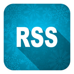 rss flat icon, christmas button