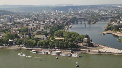 Aerial view on Koblenz and German Corner