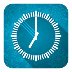 time flat icon, christmas button, clock sign