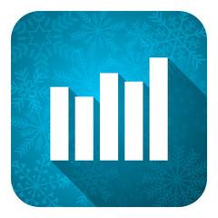 graph flat icon, christmas button, bar graph sign