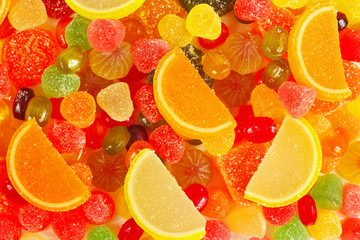 Background of colorful fruity jujube and sweets close up
