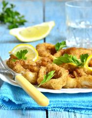 Calamari fried in breadcrumb.