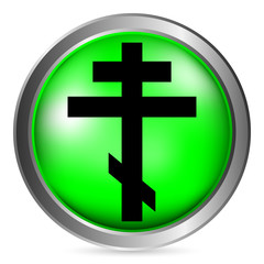 Religious orthodox cross button