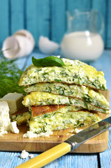 Omelet with brynza and herbs.