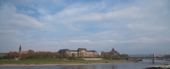 Embankment in the historic center of Dresden, Germany