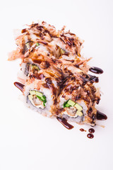 eel sushi roll in tuna flakes with sause