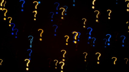 Colorful question mark blinking lights as abstract background