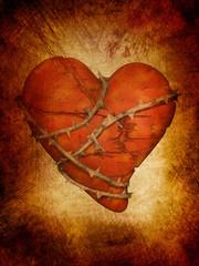 broken heart, grunge style background