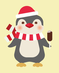 Christmas penguin with ice cream