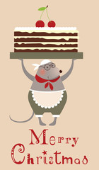 Christmas mouse cooke with cake