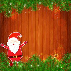 Santa Claus on wooden background