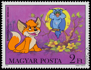 Stamp printed by Hungary shows Scenes from Cartoon Vuk