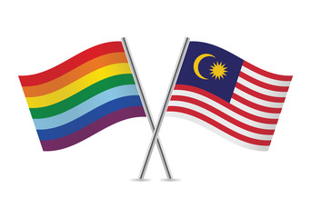 Rainbow Gay and Malaysian flags. Vector illustration.